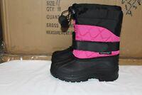 Brand New Girls Snow Boots Winter Deep Pink/Black Size 6-10 Toddler