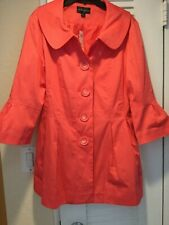 Eden Court Trench Bell Sleeve Peter Pan collar Coat calyso coral NEW w/tag