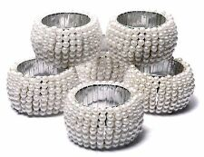 Pearl Beaded Home Decor Napkin Rings White Napkin Ring Holders 6 Pcs Set