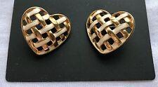 Fashion Jewelry Womens Heart Stud Earrings Yellow Gold Filled