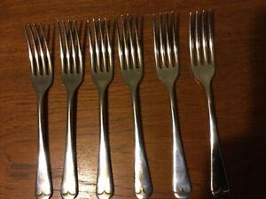 Set Of Six Antique Viceroy Plated Dessert Forks