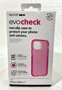 """Tech21 Evo Check Protective Case Cover apple iPhone 12 Luminous Pink 6.1""""NEW"""