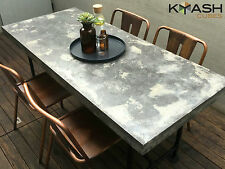 Polished concrete patio outdoor dining table charcoal, grey industrial look