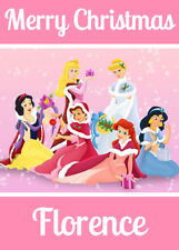 PINK DISNEY PRINCESSES Personalised Christmas Card - Add your own name PRINCESS