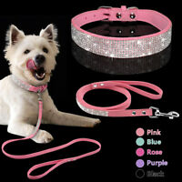 Bling Rhinestone Suede Pet Dog Collar & Leash Diamante for Dogs XS S M Chihuahua