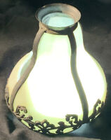 NEW PRICE: Antique caramel slag stained glass panel lamp shade