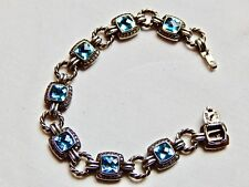 RETIRED DAVID YURMAN STERLING RENAISSANCE BRACELET W/BLUE TOPAZ & DIAMONDS