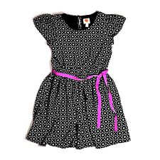 TOTAL GIRL dress 10 12 a line black white geometric polyester ss girls lined