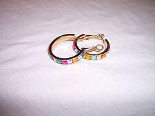 Stainless Steel Hoop Earrings w/Multi colored Emerald Cut CZ's w/Omega Back