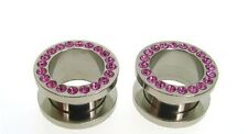PAIR OF 0g GEM FLESH TUNNELS w/ PINK STONES EARLET PLUGS TUNNEL