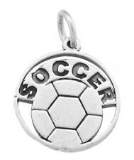 STERLING SILVER SOCCER DISC WITH BALL CHARM/ PENDANT