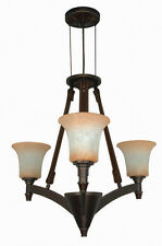 Golden Umber 3 Light Dimmable LED Chandelier With Burnt Sienna Glass