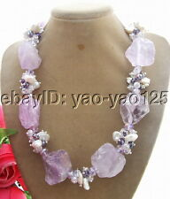 Q120104 Beautiful! Keshi Pearl&Amethyst Rough&Crystal Necklace