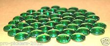 "(x50) Dark Green 3/4"" Glass Cabochon Dome Pebbles Gems Mosaic Tile Stone Rock"