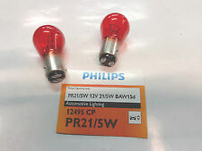2 LAMP LAMPADE PHILIPS PR21/5W 12V 5/21W COL. ROSSO LUCE STOP BAW15d 12495CP V1