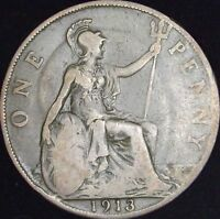 1913 VG+ Great Britain Penny - KM# 810