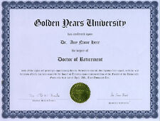 Doctor Retirement Novelty Diploma Snow Bird Pension