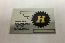 HEWLAND TRANSAXLE GEARBOX NAMEPLATE ID TAG MK8 MK9 NOS