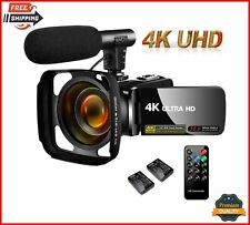 SAULEOO Video Camera Camcorder 4K 30MP Digital with Microphone Ultra HD Vlogging