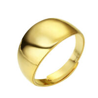 Gold Tone Wide Band Ring Cocktail Chunky Knuckle Ring Wedding Engagement Jewelry