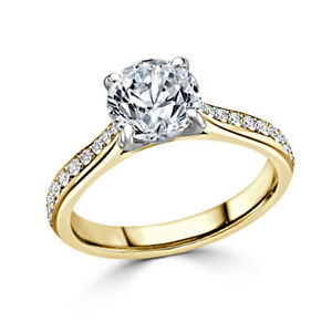 1.80 Ct VVS1 Round Solitaire Diamond Engagement Ring 18K Solid Yellow Gold Rings