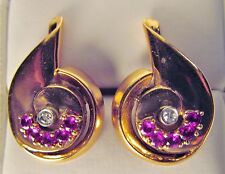 Superb VTG Art Deco Pierced Earrings 14K Rose Gold Ruby Diamond 11.3 Gr No Scap