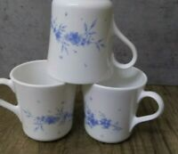 Vintage Corning Corelle Set of 3 Celestial Blue Floral Coffee Cups EXCELLENT