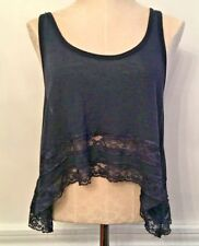 Medium Hollister Junior Women's Navy Blue Oversize Lace Trim Crop Tank