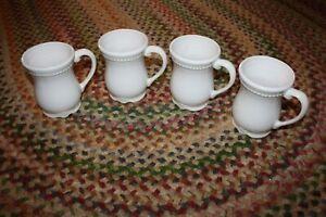 Princess House Pavillion  4 Ceramic Coffee Mugs 1371 HTF EUC