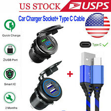 Dual Qc 3.0 Usb Quick Car Charger Socket Outlet+Type C Usb-C Phone Charge Cable