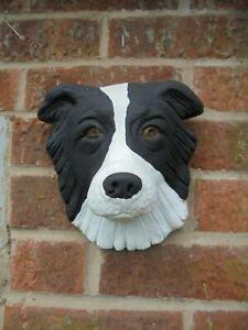 Collie dog head wall plaque concrete garden ornament