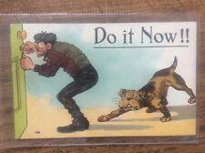 Vintage Burglary Postcard Burglar about to be attacked by Dog Picking Door Lock