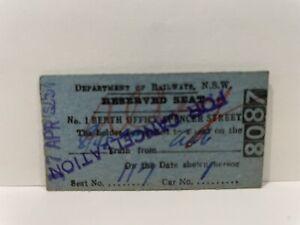 NSWGR Railway Ticket Reserved Seat Spencer Street 1957