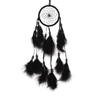 UN3F Bead Dream Catcher Black Feather Crafts Handmade Home Hanging Gifts