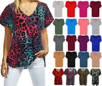 Ladies Women Baggy Fit V Neck Turn Up Sleeve Loose Batwing Oversized T Shirt Top