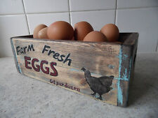 wooden egg Storage box / holder Crate vintage style advertisment Handcrafted