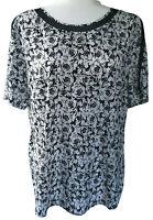 Ann Taylor short sleeve blouse womens Large white black floral work shirt dressy