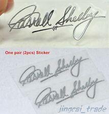 Pair (2 pcs) Polished Chrome Carroll Shelby Signature Car Emblem Sticker Decal