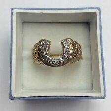 10K REAL YELLOW GOLD .25ct Diamond Horseshoe Nugget Style RING SZ 9.5 / 5.8g