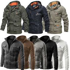 Mens Military Jacket Tactical Combat Hooded Coat Zip Up Outerwear