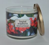 NEW BATH & BODY WORKS FROSTED CRANBERRY SCENTED CANDLE 3 WICK 14.5OZ LARGE OILS