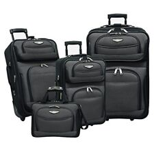 Traveler's Choice Amsterdam 4-Piece Luggage Set 3 Upright Rolling Bags 1 Tray