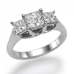 3 Ct Princess Cut 3-Stone Diamond Real Solid 14K White Gold Engagement Ring