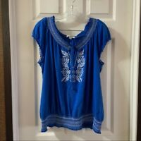 Dress Barn Women's Blue Scoop Neck Short Sleeve Blouse size 14/16