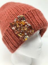 Women Beanie Hat Hand Knit 100% Cashmere  Hand Decorated Crystal Beads