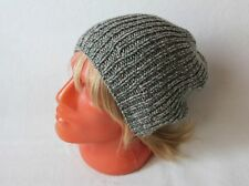 Cashmere knit hat Slouchy beanie grey-wormwood color Men pure cashmere hat