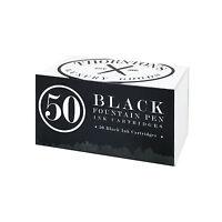 Thornton's Short Standard Fountain Pen Ink Cartridges, Black Ink, Pack of 50
