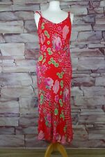 PER UNA red floral strappy dress size 14