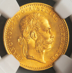 1915, Austria (Empire), Francis Joseph I. Gold Ducat Coin. Re-Strike! NGC MS-67!