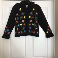 Berek Colorful Cardigan Black Floral Women's Size Medium